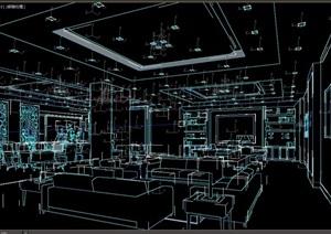 现代详细会议办公空间设计3d模型