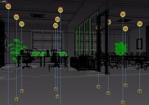 详细的室内办公空间3d模型