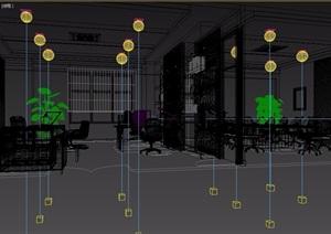 现代室内办公空间3d模型