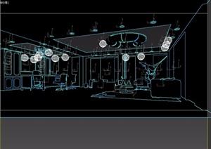 整体详细的室内办公室3d模型