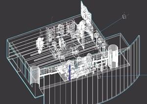 详细整体完整的办公室3d模型