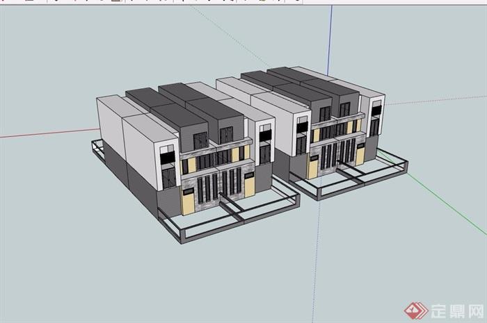 现代简单小区别墅设计su模型