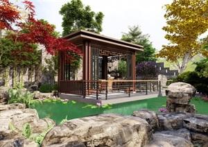 某新中式庭院,假山,亭子,水池,驳岸
