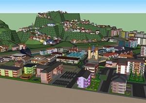 一整套欧式小镇设计模型-