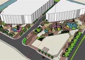 详细的商业广场景观设计SU(草图大师)模型