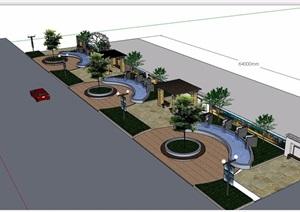 详细的休闲小游园景观SU(草图大师)模型