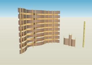 创意竹编波浪板与竹编小品