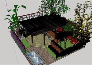 详细的小庭院景观设计SU(草图大师)模型