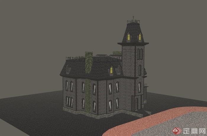 欧式风格三层教堂建筑su模型