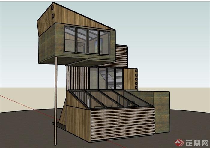 三层现代详细的经典别墅设计su模型