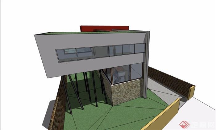 详细多层别墅建筑su模型