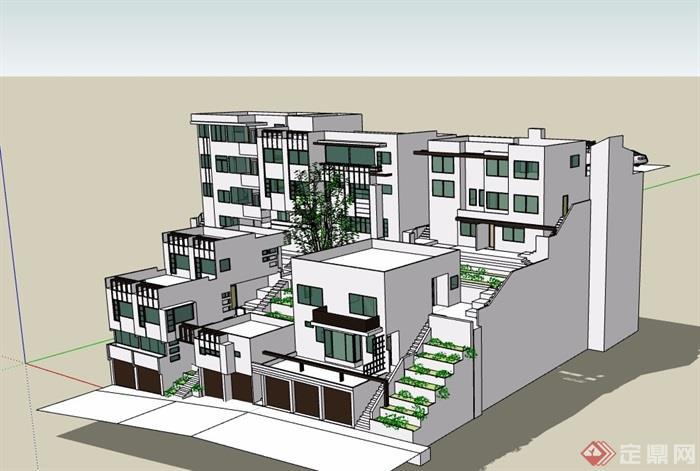 某山地住宅建筑楼su模型