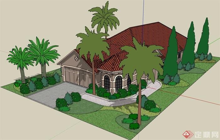 欧式详细的经典别墅单层设计su模型