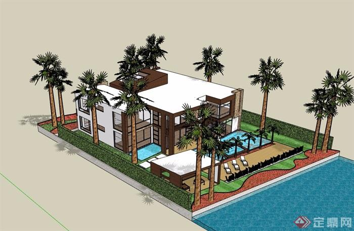 详细完整的居住别墅建筑楼设计su模型