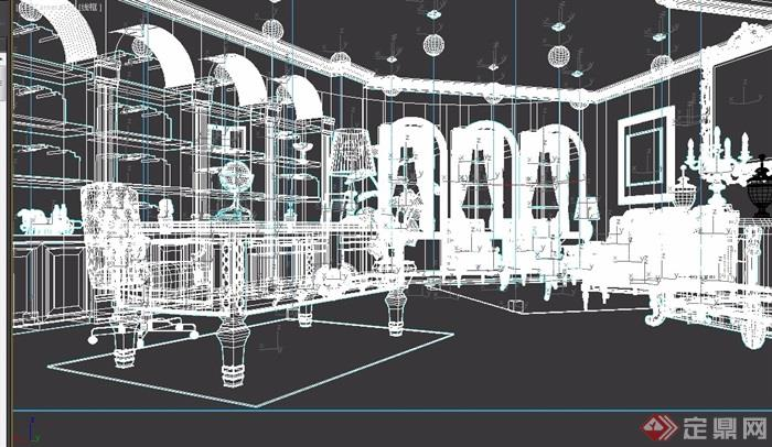 欧式风格详细完整的办公空间3d模型