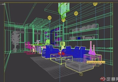 详细完整的办公室空间3d模型