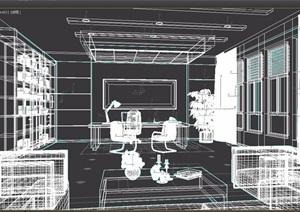 现代详细办公室空间设计3d模型