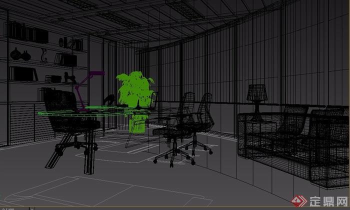 某现代详细完整的办公空间3d模型