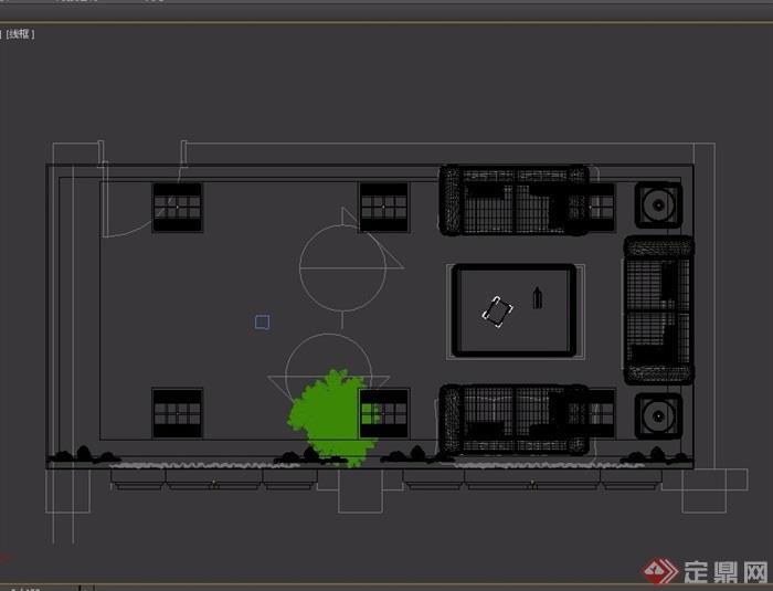 某现代风格详细的办公室内3d模型