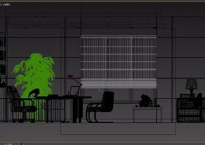 现代详细的室内办公空间设计3d模型
