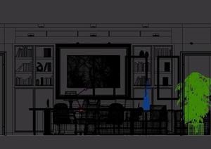 现代详细的办公室内空间3d模型