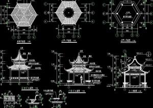 古典中式风格详细的重檐亭设计cad施工图