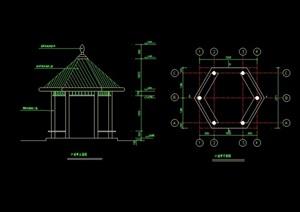现代六角亭设计cad施工图