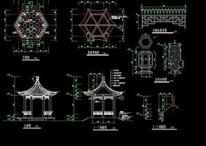 古典中式风格详细景观亭子cad施工图