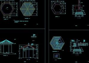 现代详细完整亭子素材cad施工图