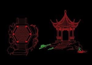 古典中式六角亭cad方案