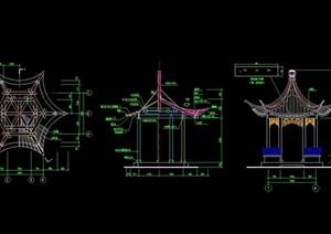 中式详细六角亭设计cad施工图
