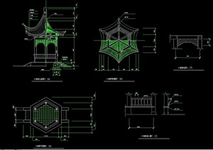 中式六角亭详细完整设计cad施工图