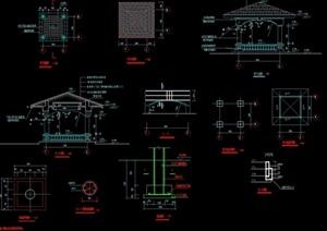 精致详细完整的景观亭设计cad施工图