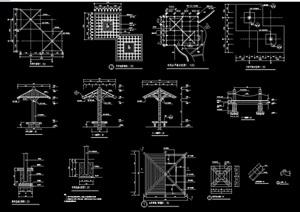 园林景观详细木质亭子cad施工图