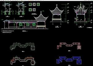 详细的古典中式长廊亭cad施工图