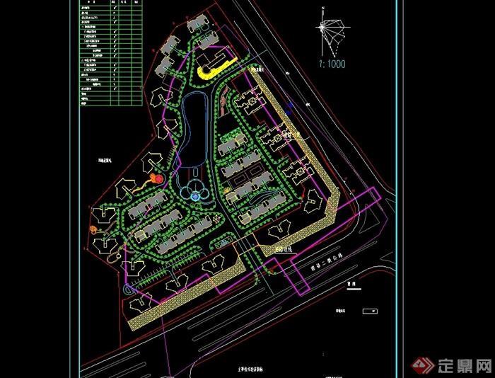 现代居住小区规划cad方案图