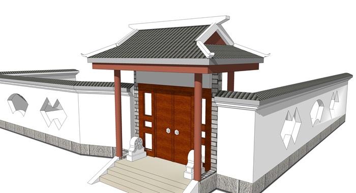 中式院门古典大门头(1)