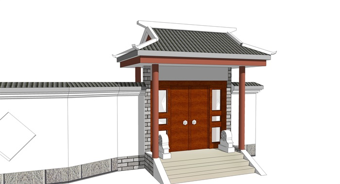 中式院门古典大门头(3)