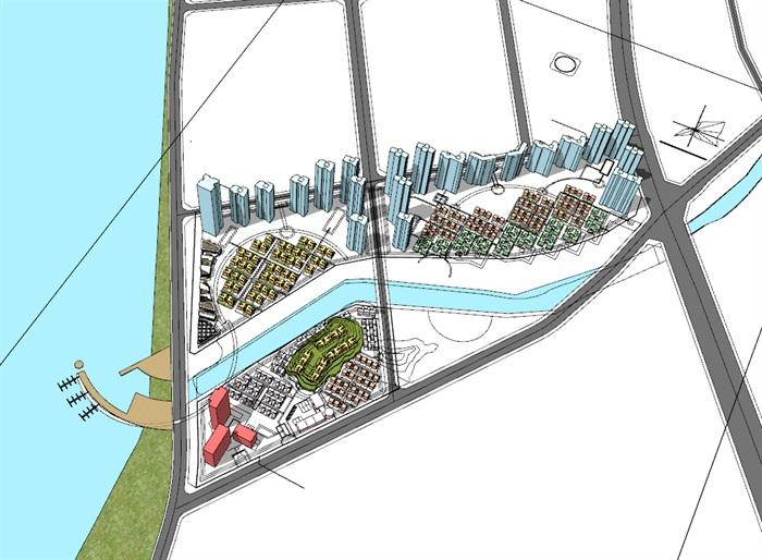 现代包壳式双层屋顶木格栅百叶表皮精品高端社区沿街商业步行街(1)