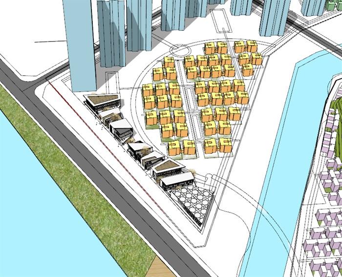 现代包壳式双层屋顶木格栅百叶表皮精品高端社区沿街商业步行街(2)