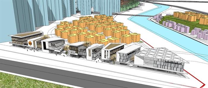 现代包壳式双层屋顶木格栅百叶表皮精品高端社区沿街商业步行街(3)