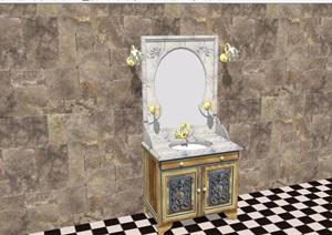 欧式风格洗脸柜素材设计SU(草图大师)模型