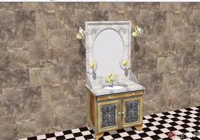欧式风格洗脸柜素材设计su模型