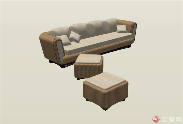 园林景观详细的沙发及坐凳su模型