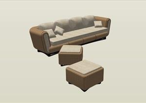园林景观详细的沙发及坐凳SU(草图大师)模型
