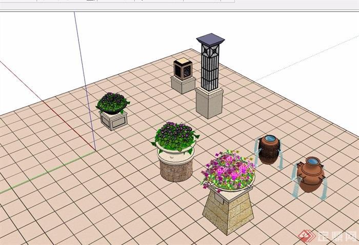 园林景观花钵灯柱小品素材设计su模型