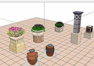 园林景观花钵灯柱小品素材设计SU(草图大师)模型