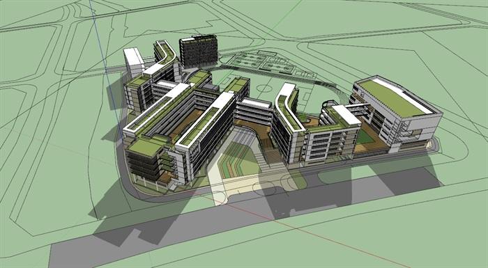 现代创意立体交流空间连廊休息平台曲线有机式中小学校园规划教学楼设计(1)