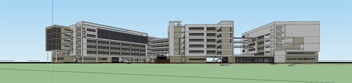 现代创意立体交流空间连廊休息平台曲线有机式中小学校园规划教学楼设计(2)