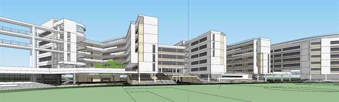 现代创意立体交流空间连廊休息平台曲线有机式中小学校园规划教学楼设计(4)